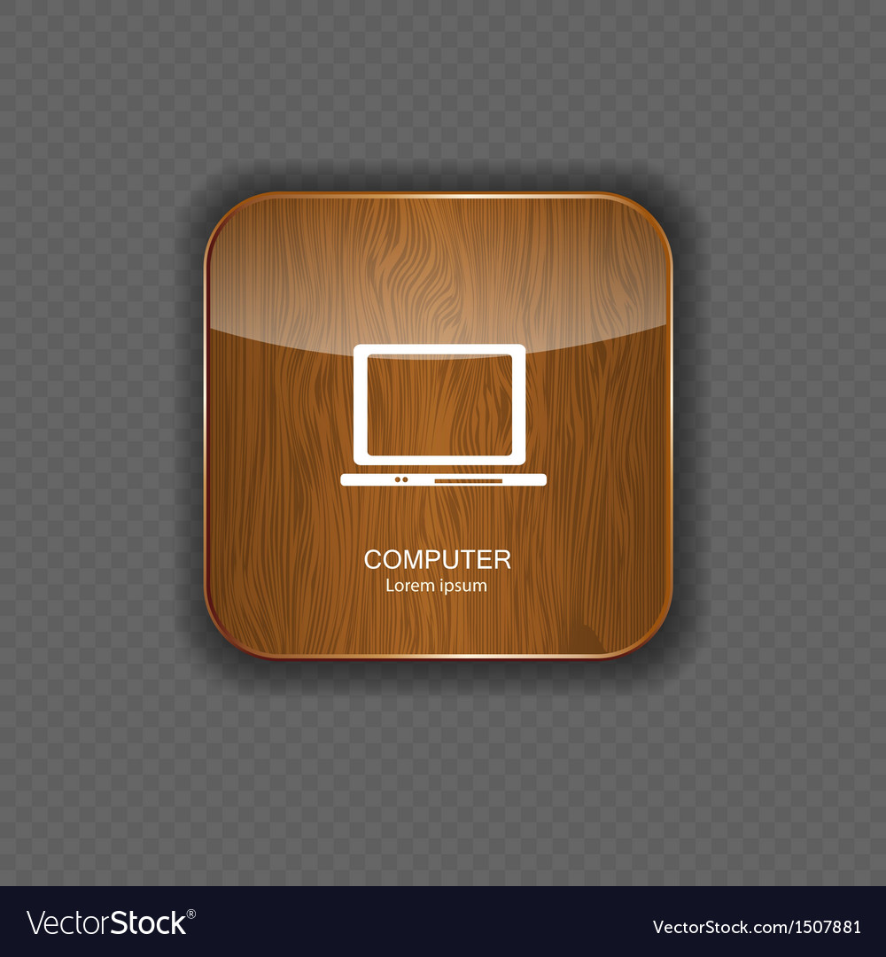 Computer wood application icons vector | Price: 1 Credit (USD $1)