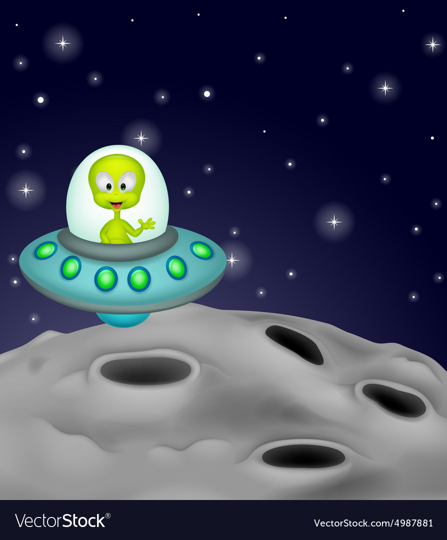 Cute alien cartoon in the spaceship vector