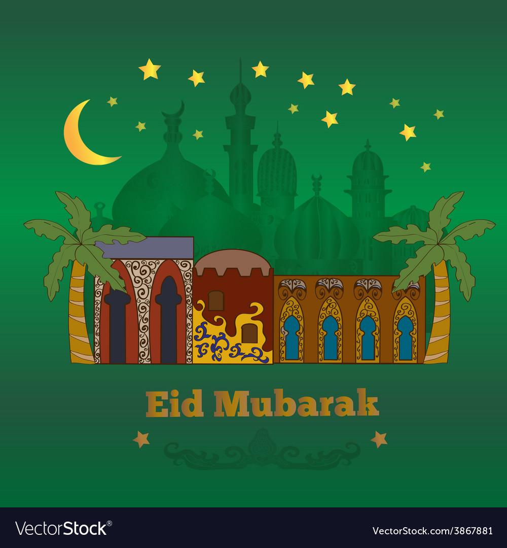 Eid mubarak card green vector | Price: 1 Credit (USD $1)