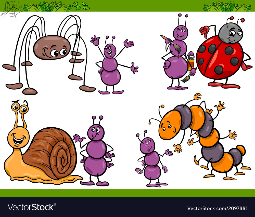 Happy insects set cartoon vector | Price: 1 Credit (USD $1)