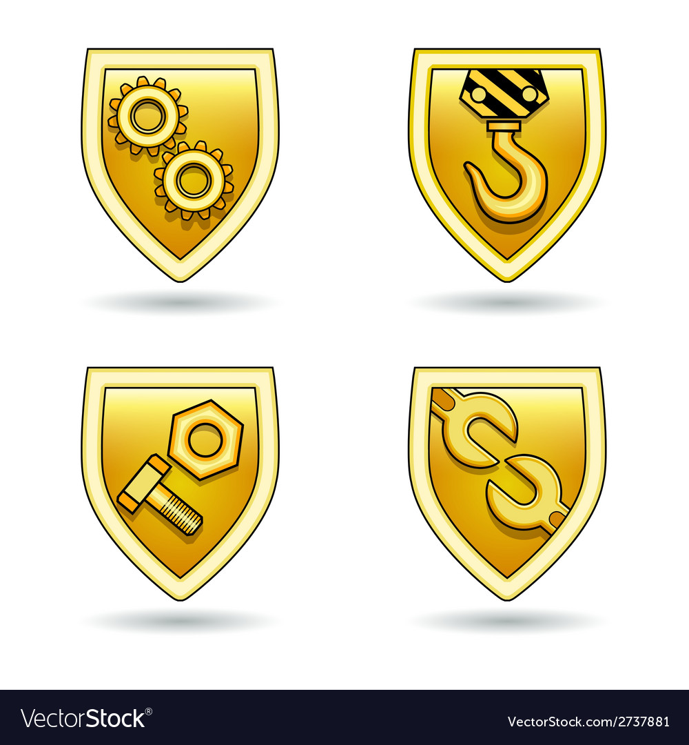 Industrial icon shields set vector | Price: 1 Credit (USD $1)