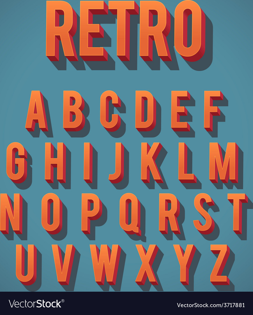 Retro 3d alphabet set vector | Price: 1 Credit (USD $1)