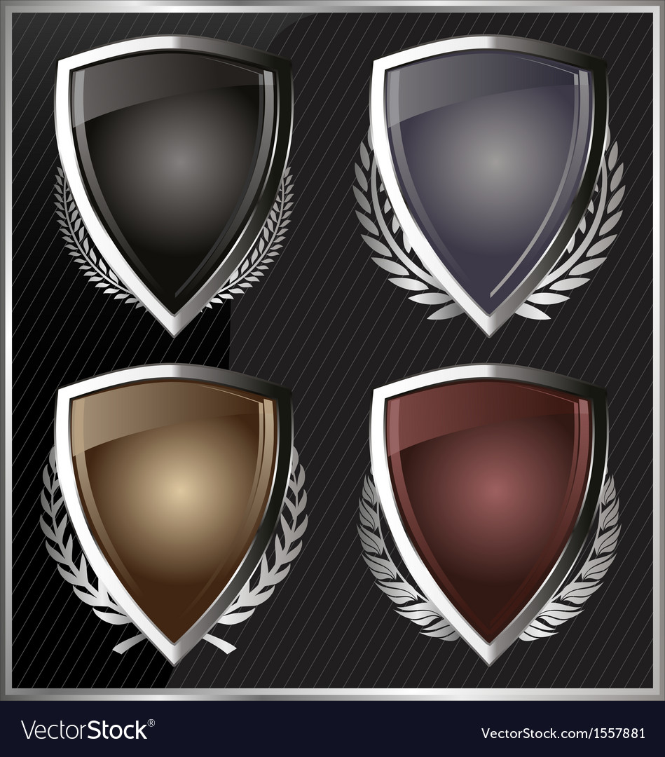 Silver shields with laurel wreaths vector | Price: 1 Credit (USD $1)