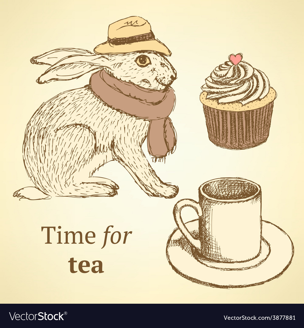 Sketch fancy hare cup cupcake in vintage style vector   Price: 1 Credit (USD $1)