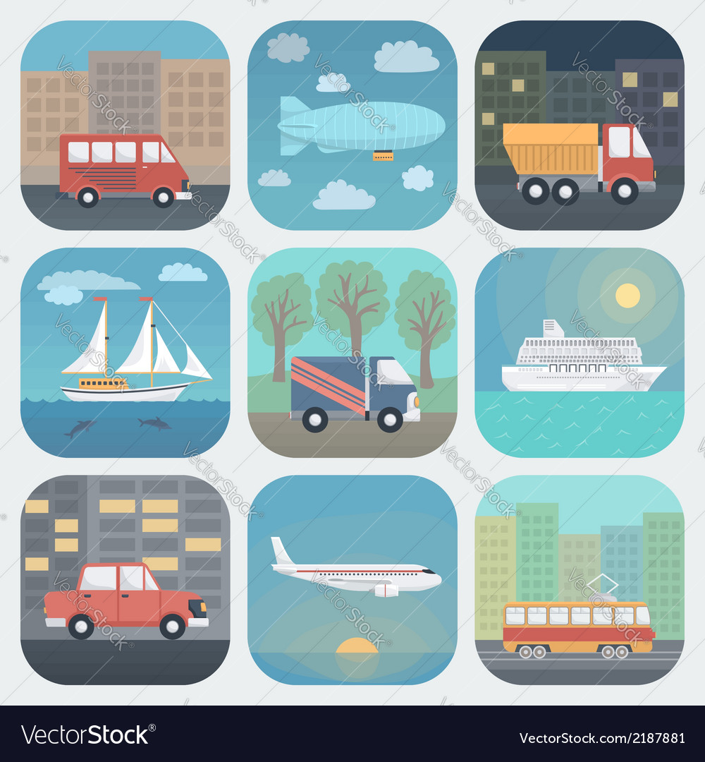 Transport app icons set vector | Price: 1 Credit (USD $1)