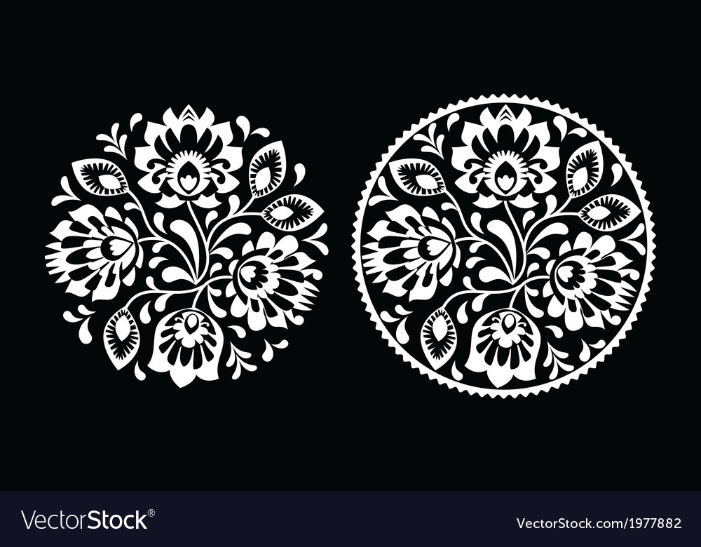 Folk embroidery with flowers - traditional polish vector   Price: 1 Credit (USD $1)