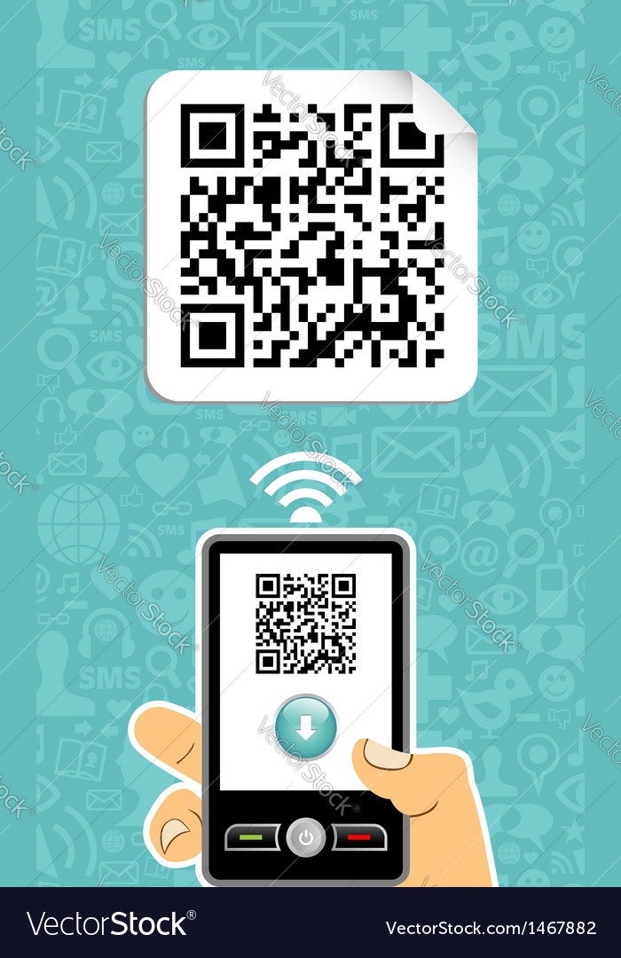 Mobile phone decoder qr code vector | Price: 1 Credit (USD $1)