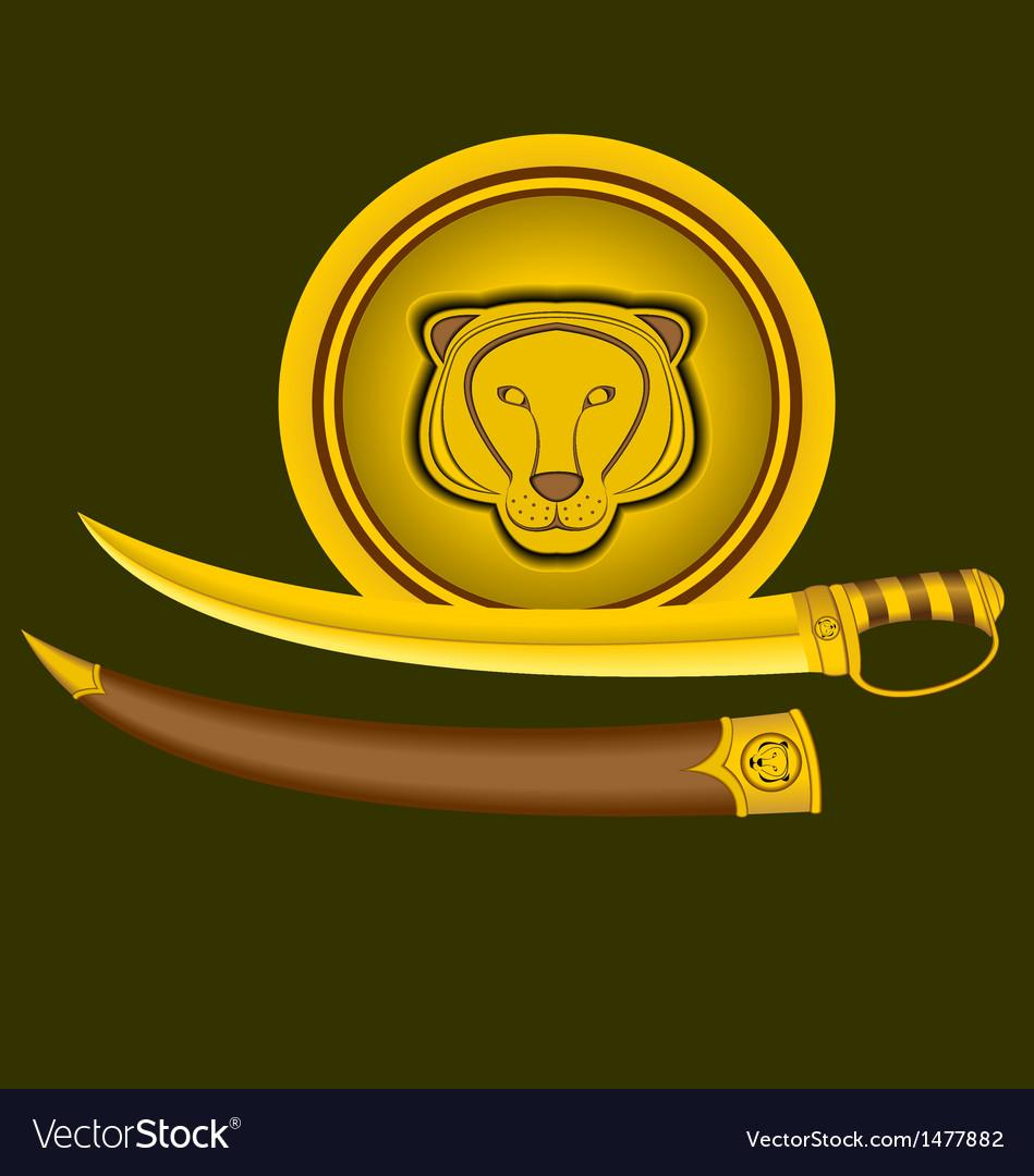 Tiger-sword-shield vector | Price: 1 Credit (USD $1)