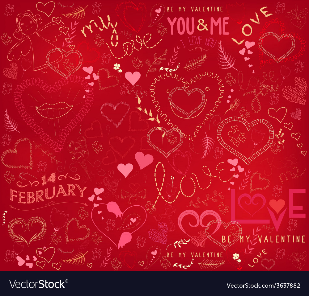 Valentines day ornate background vector | Price: 1 Credit (USD $1)