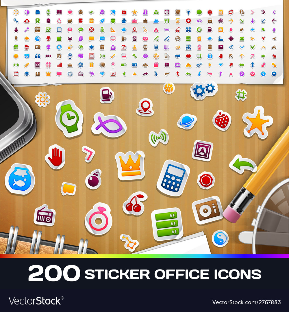 200 sticker universal icons set 2 vector | Price: 1 Credit (USD $1)