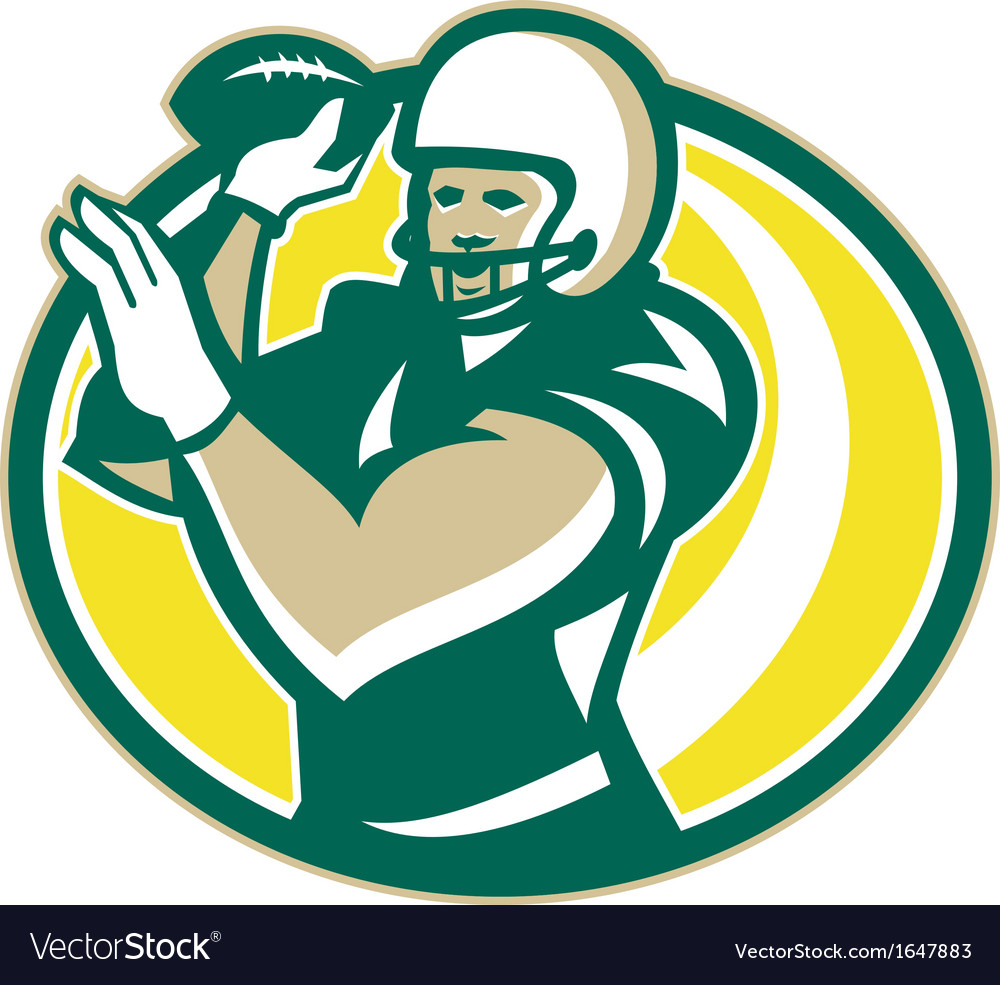 American football qb passing ball retro vector | Price: 1 Credit (USD $1)