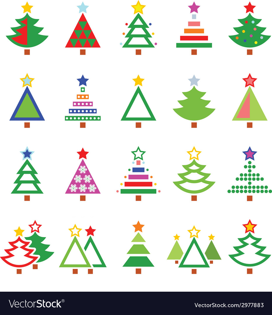 Christmas tree - various types icons set vector | Price: 1 Credit (USD $1)