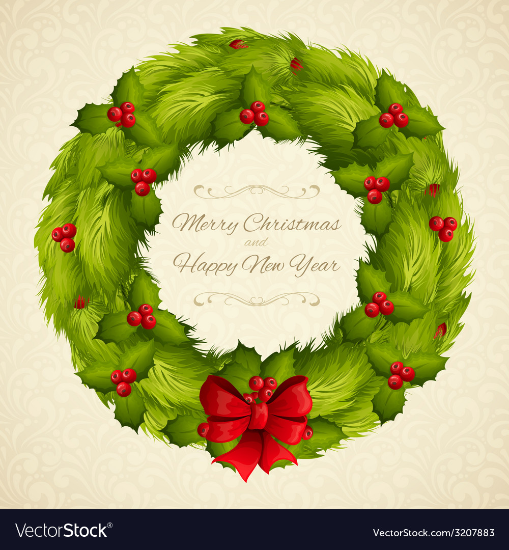 Christmas wreath postcard vector | Price: 1 Credit (USD $1)