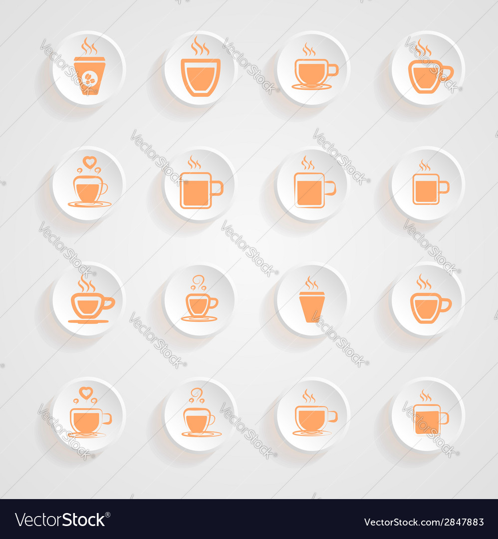 Coffee mug icons button shadows set vector | Price: 1 Credit (USD $1)