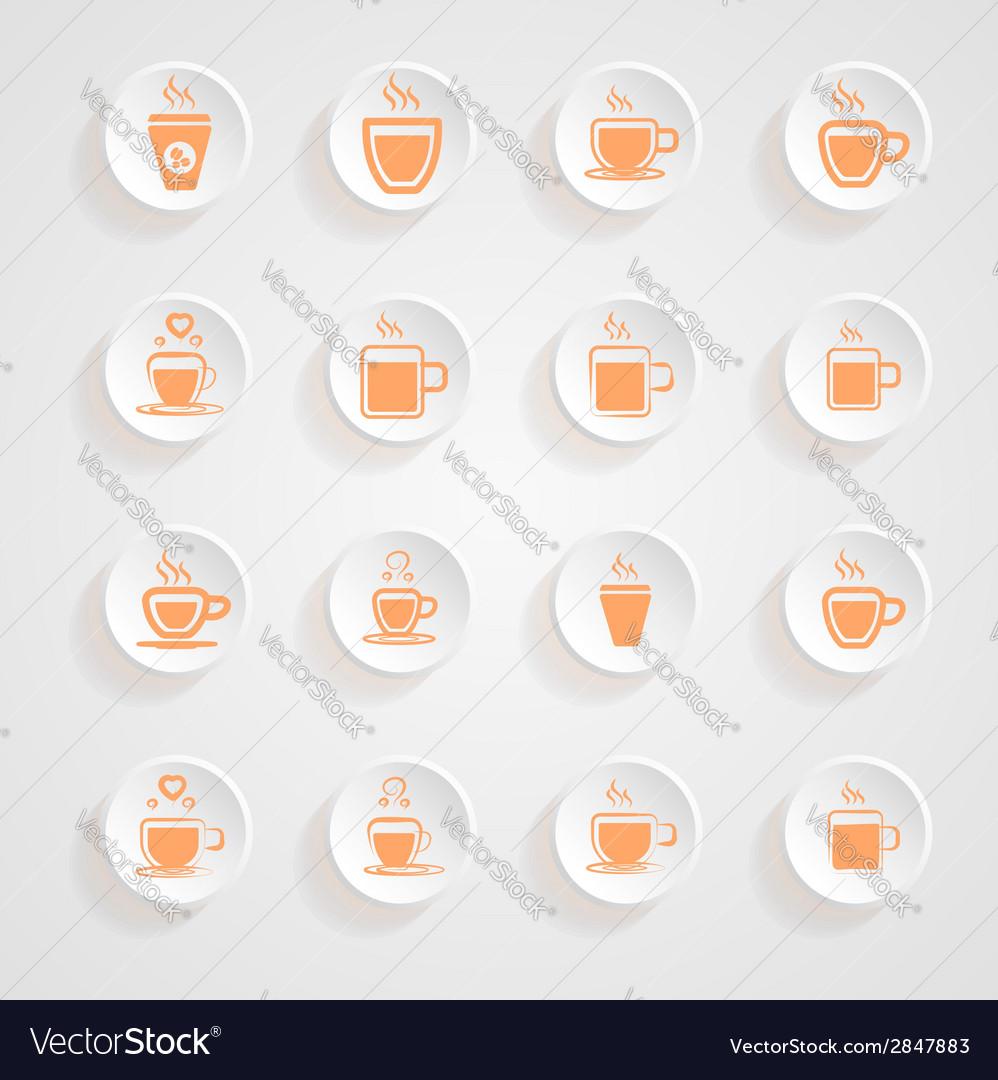 Coffee mug icons button shadows set vector | Price: 1 Credit (USD $1)