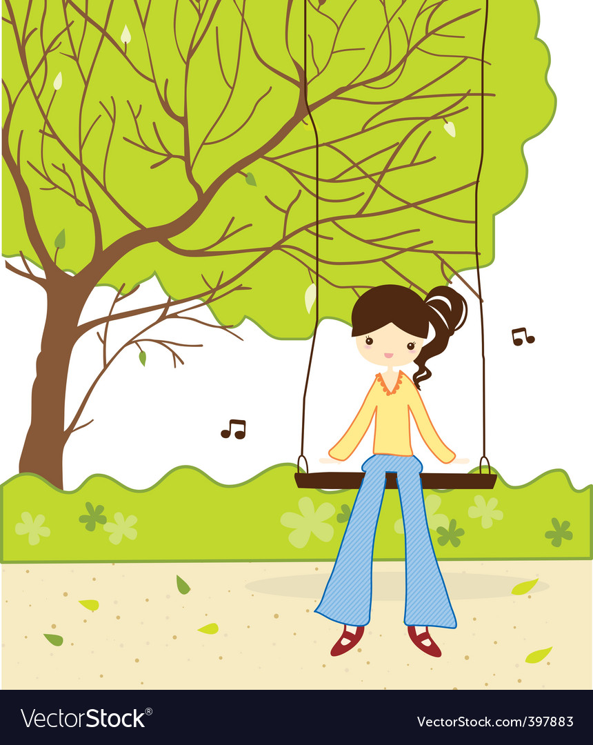 Cute girl in the garden vector | Price: 1 Credit (USD $1)