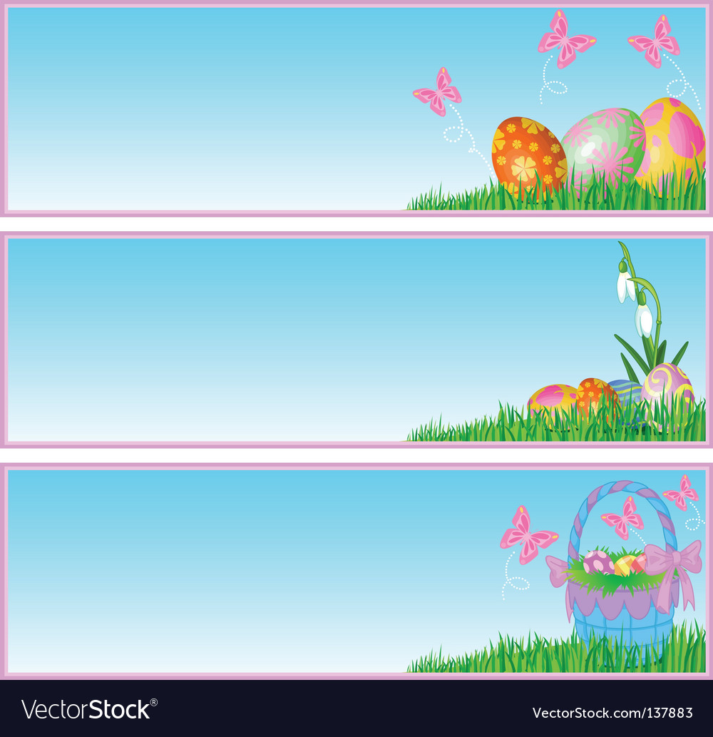 Easter eggs banners vector
