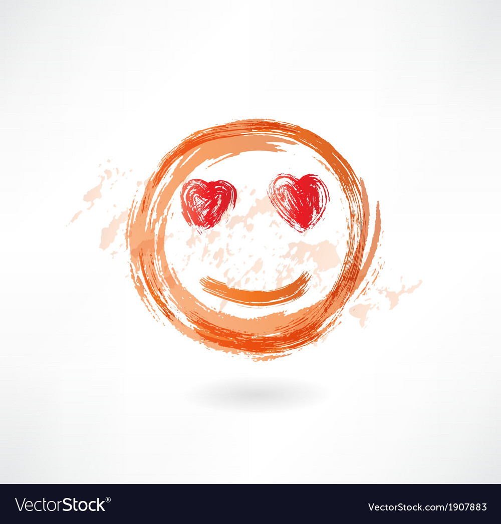 Face with heart eyes grunge icon vector   Price: 1 Credit (USD $1)