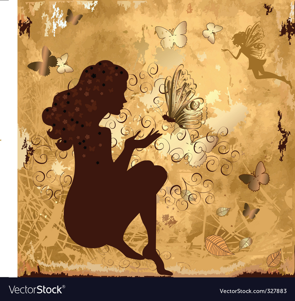 Grunge girl with butterflies vector | Price: 1 Credit (USD $1)