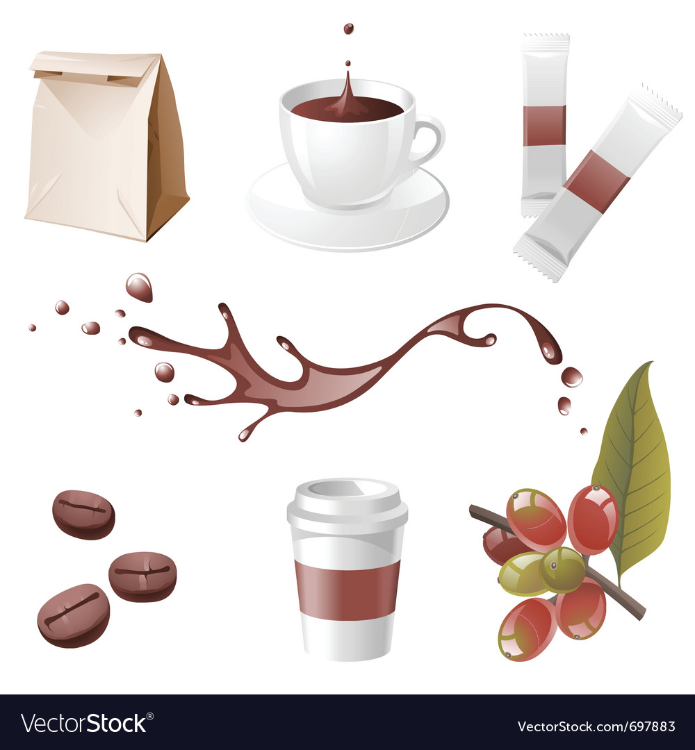 Realistic coffee icons set vector | Price: 1 Credit (USD $1)