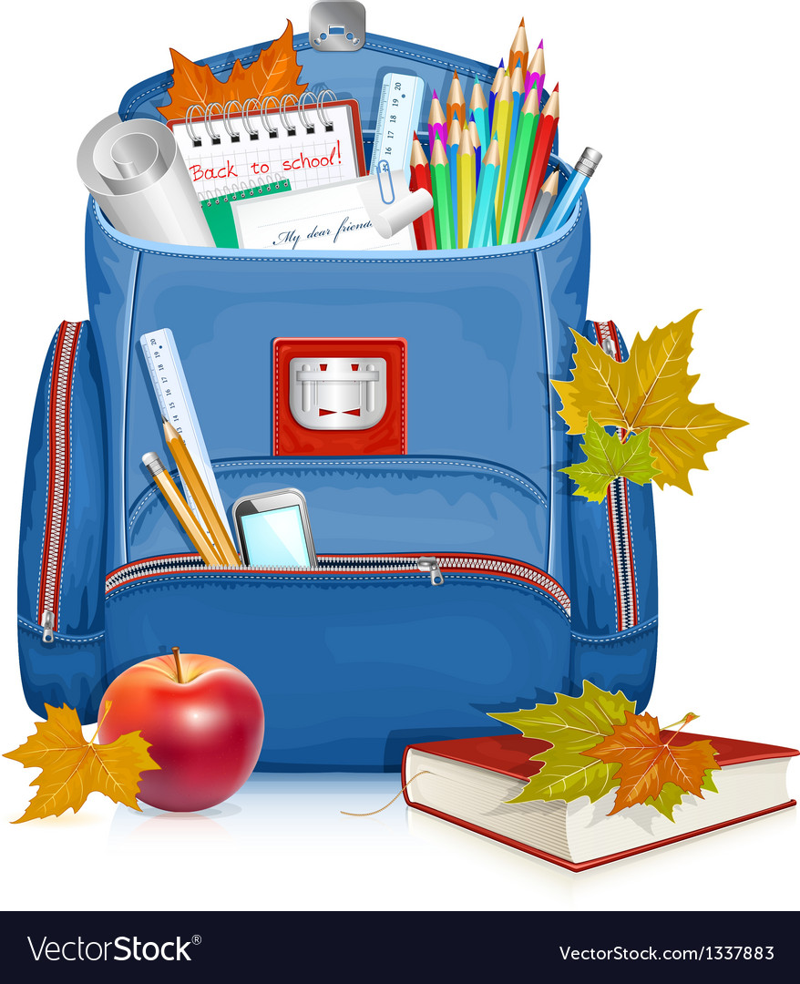 School bag with education objects vector | Price: 3 Credit (USD $3)