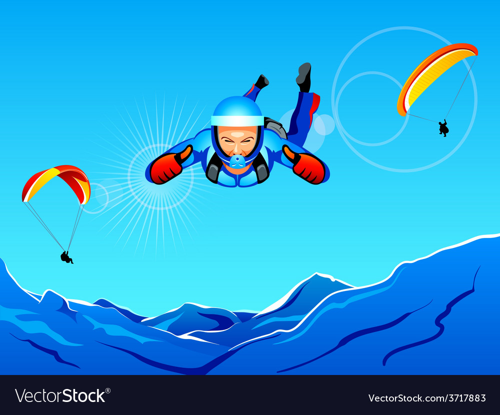Sky-diving and paragliding vector | Price: 1 Credit (USD $1)