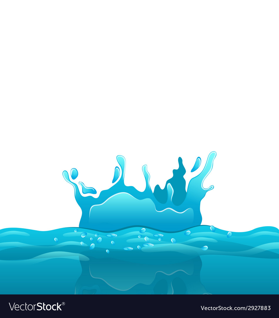Splash and crown on rippled water surface vector | Price: 1 Credit (USD $1)