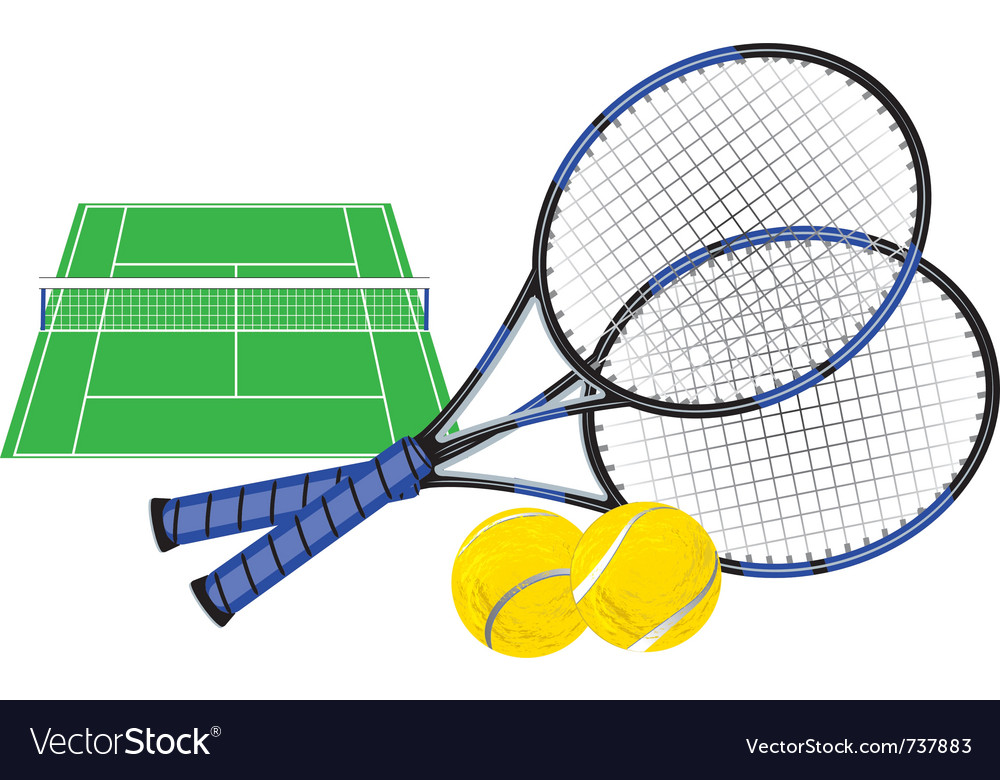 Tennis court and rackets vector | Price: 3 Credit (USD $3)