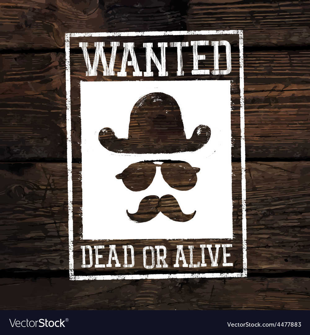 Wanted poster on wooden wall vector | Price: 1 Credit (USD $1)