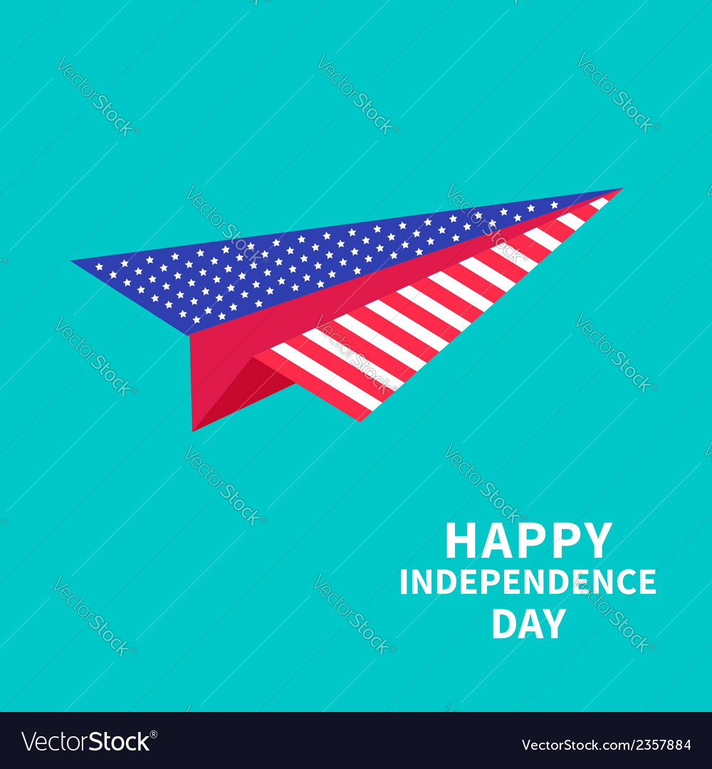 Big paper plane dash line happy independence day vector | Price: 1 Credit (USD $1)