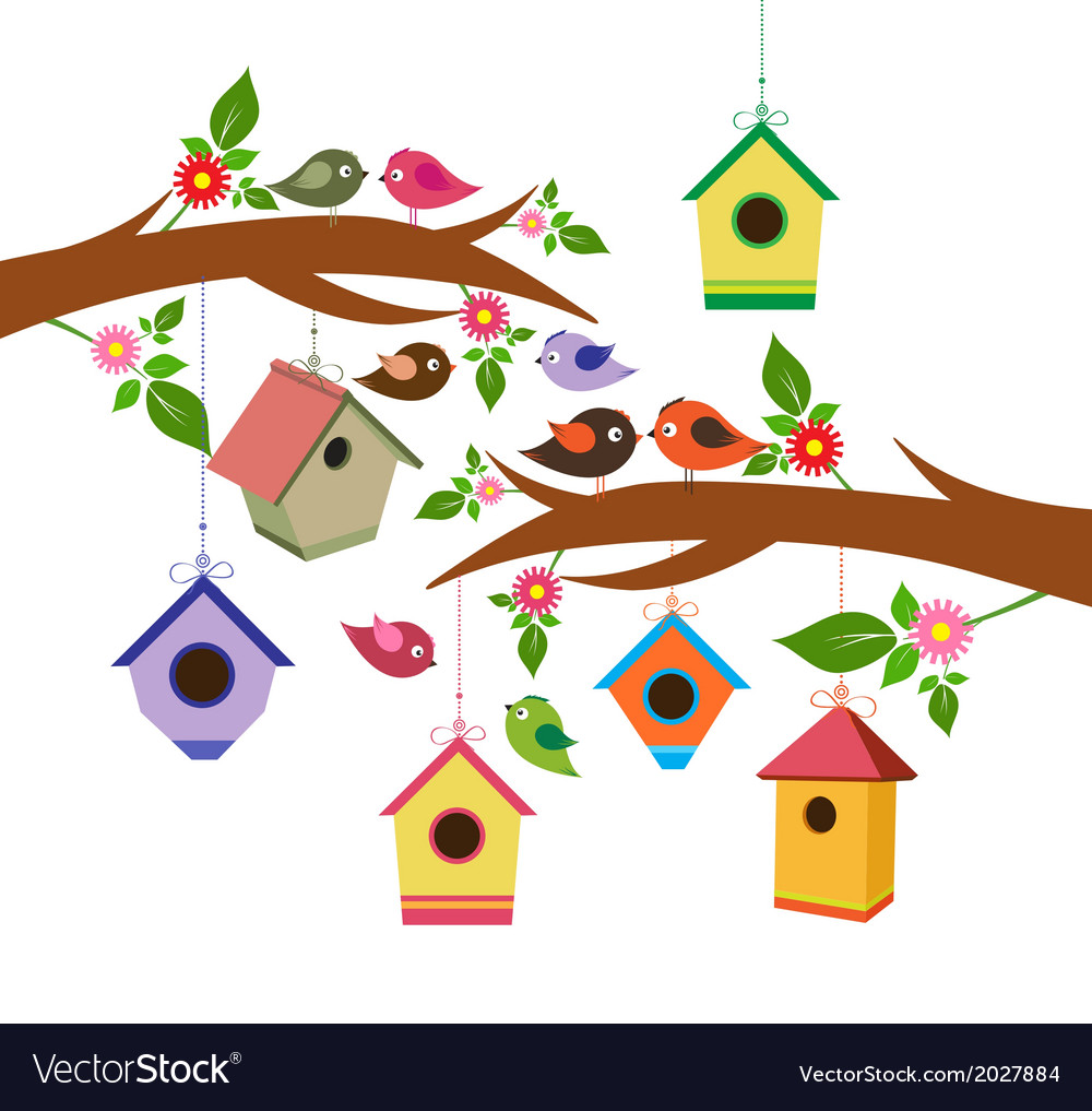 Birdhouse for spring vector