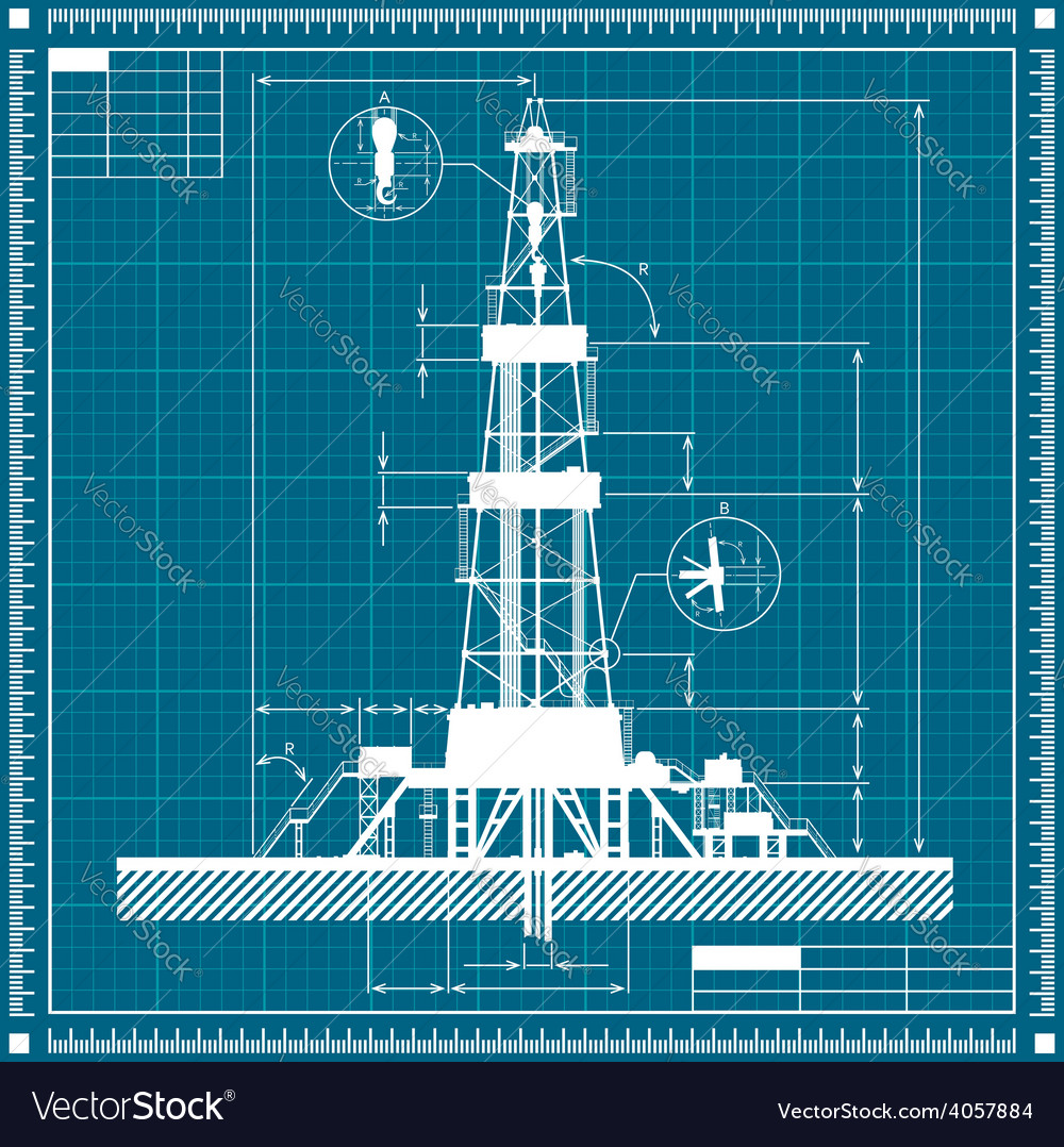 Blueprint of oil rig silhouette vector | Price: 1 Credit (USD $1)