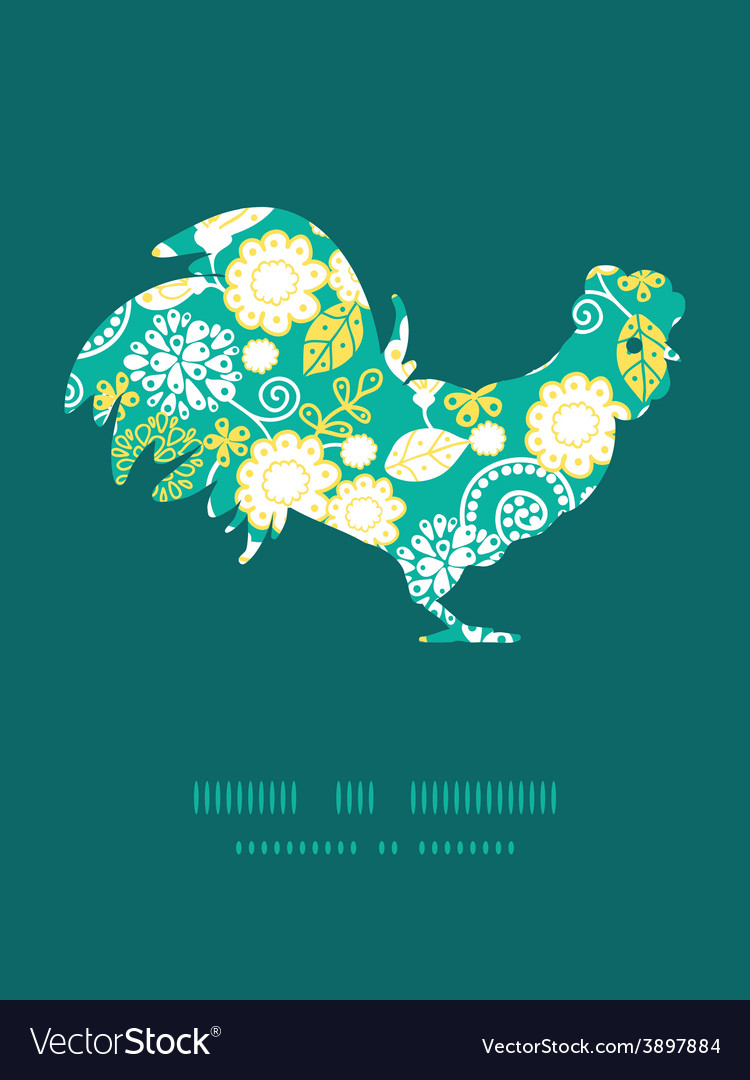 Emerald flowerals rooster silhouette easter vector | Price: 1 Credit (USD $1)