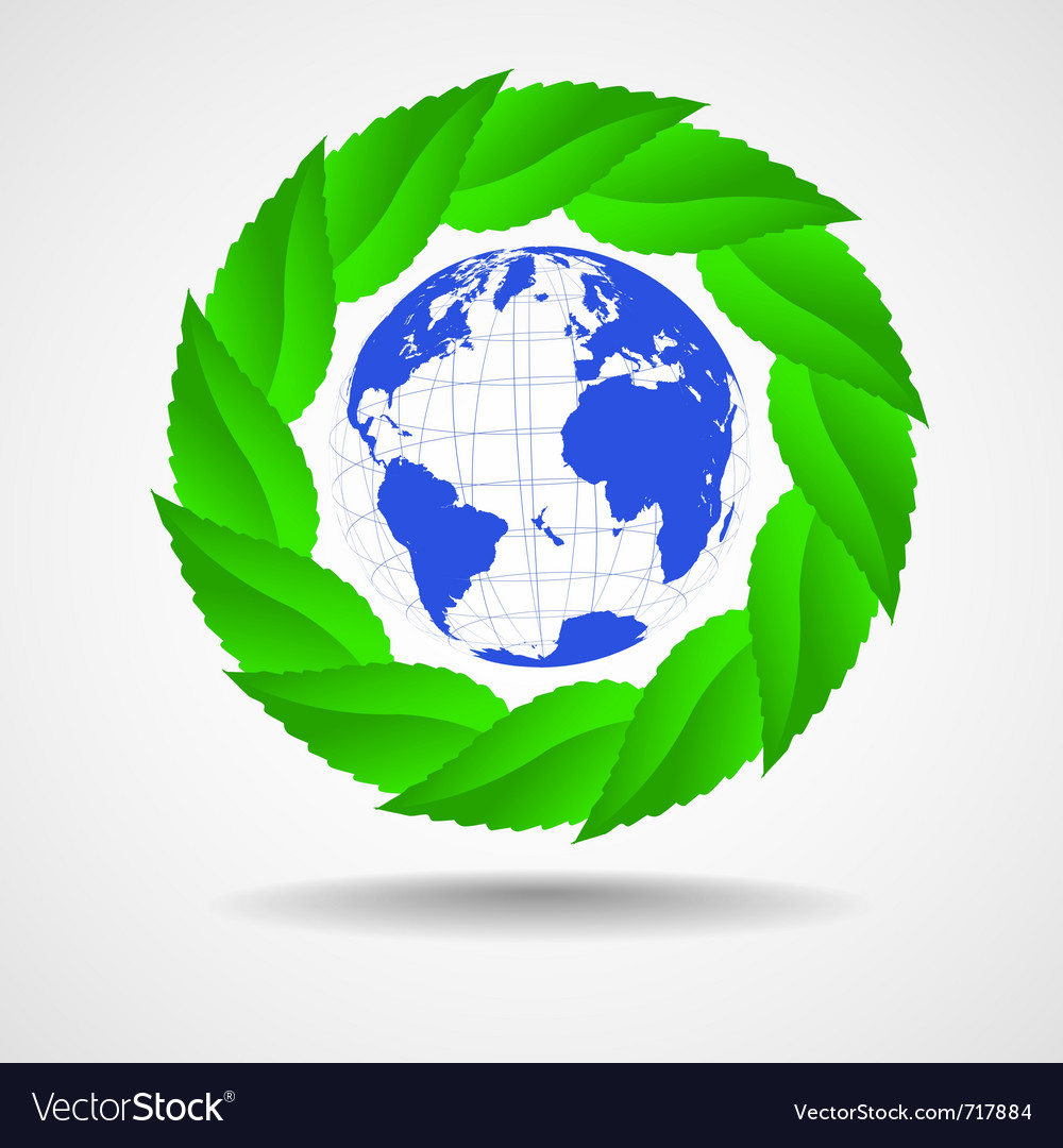 Green eco background globe with leaves vector | Price: 1 Credit (USD $1)