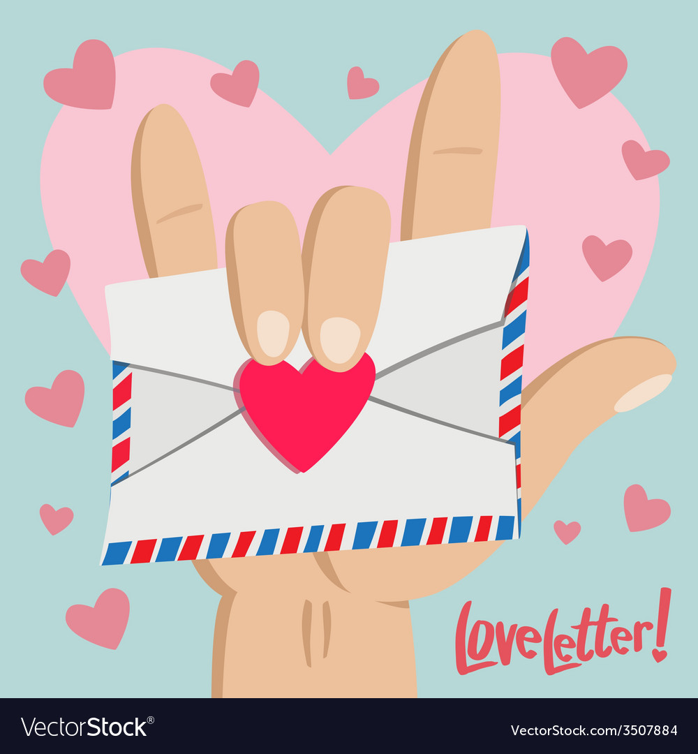 Love letter with love hand sign vector | Price: 1 Credit (USD $1)