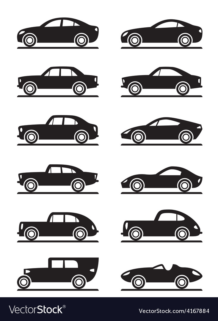 Modern and vintage cars vector