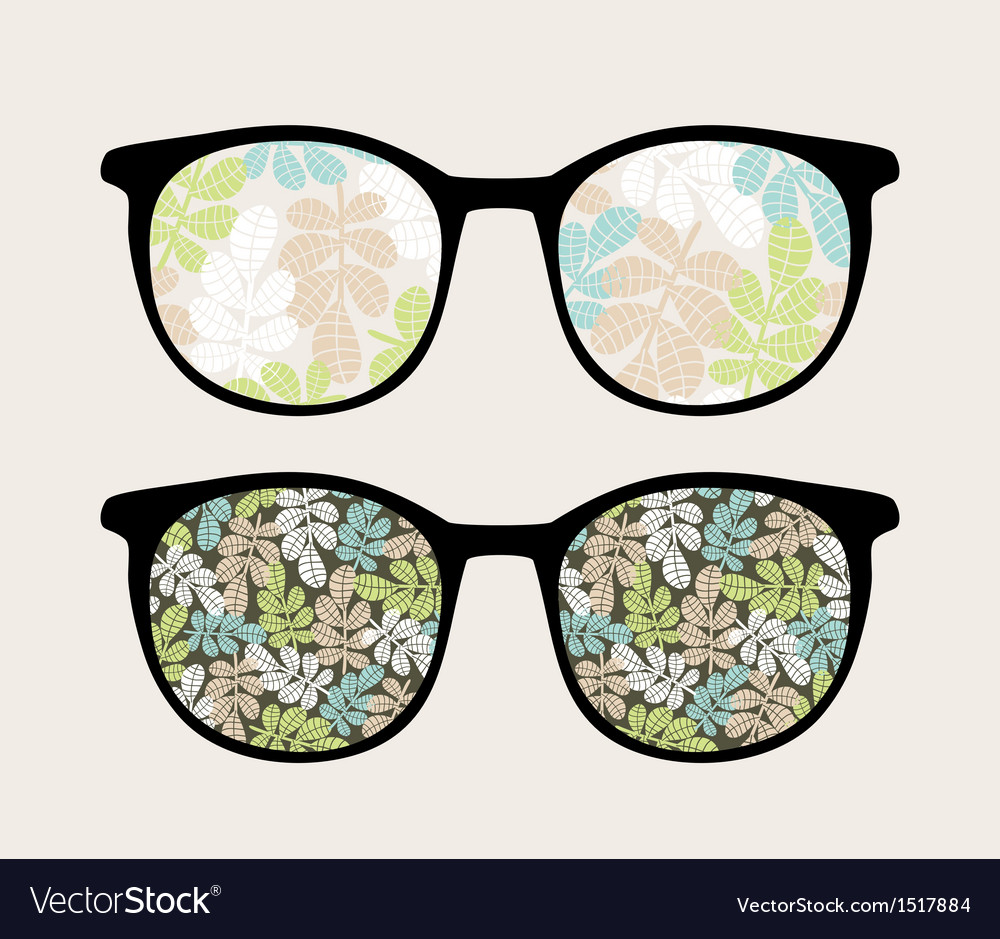 Retro sunglasses with floral reflection in it vector | Price: 1 Credit (USD $1)