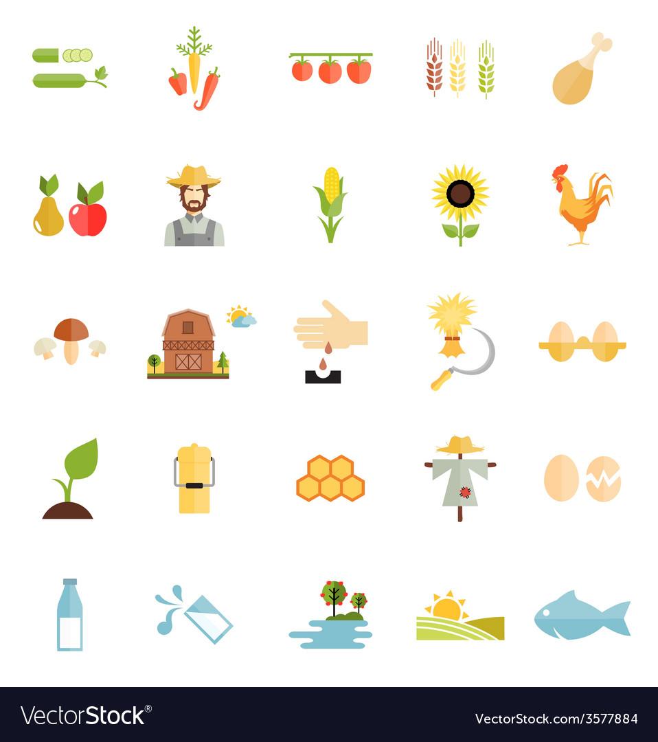 Variety flat style farm organic food icon vector   Price: 1 Credit (USD $1)