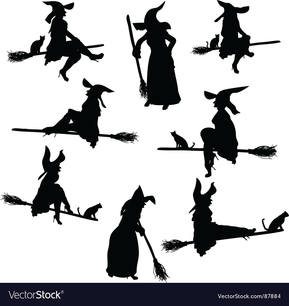 Witch silhouettes vector | Price: 1 Credit (USD $1)