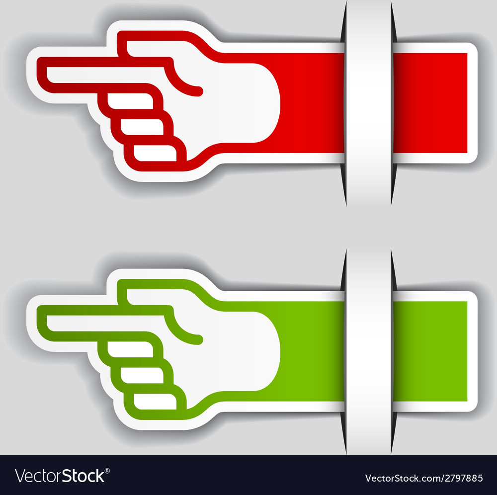 Attached pointing hand labels vector | Price: 1 Credit (USD $1)