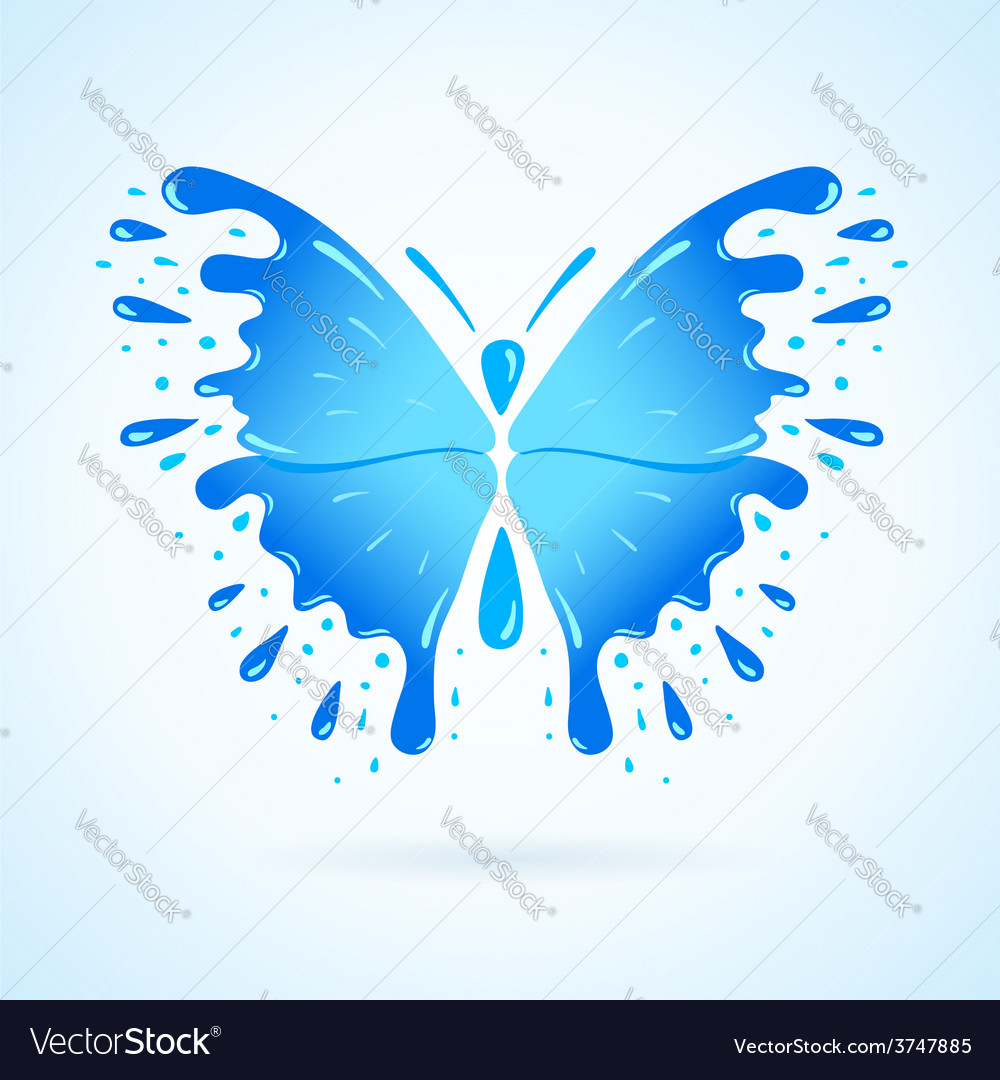Butterfly water aqua blue splash drops vector | Price: 1 Credit (USD $1)