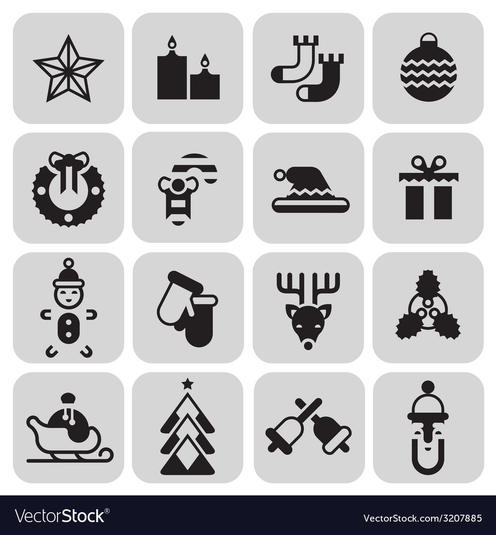 Christmas icons set black vector | Price: 1 Credit (USD $1)