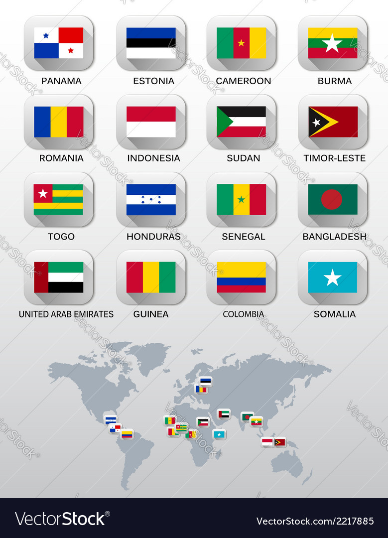 Flags of different countries vector | Price: 1 Credit (USD $1)