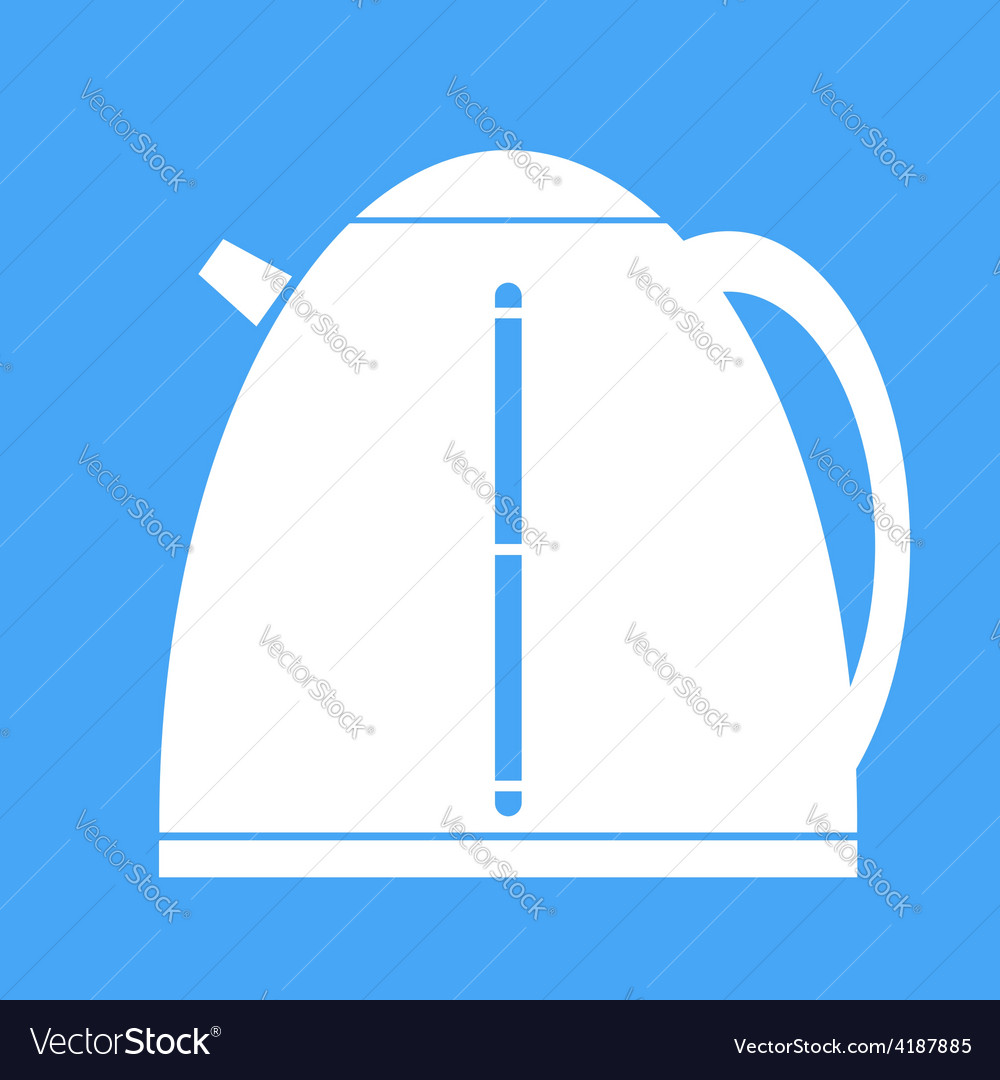 Icon electric kettle on blue background vector | Price: 1 Credit (USD $1)