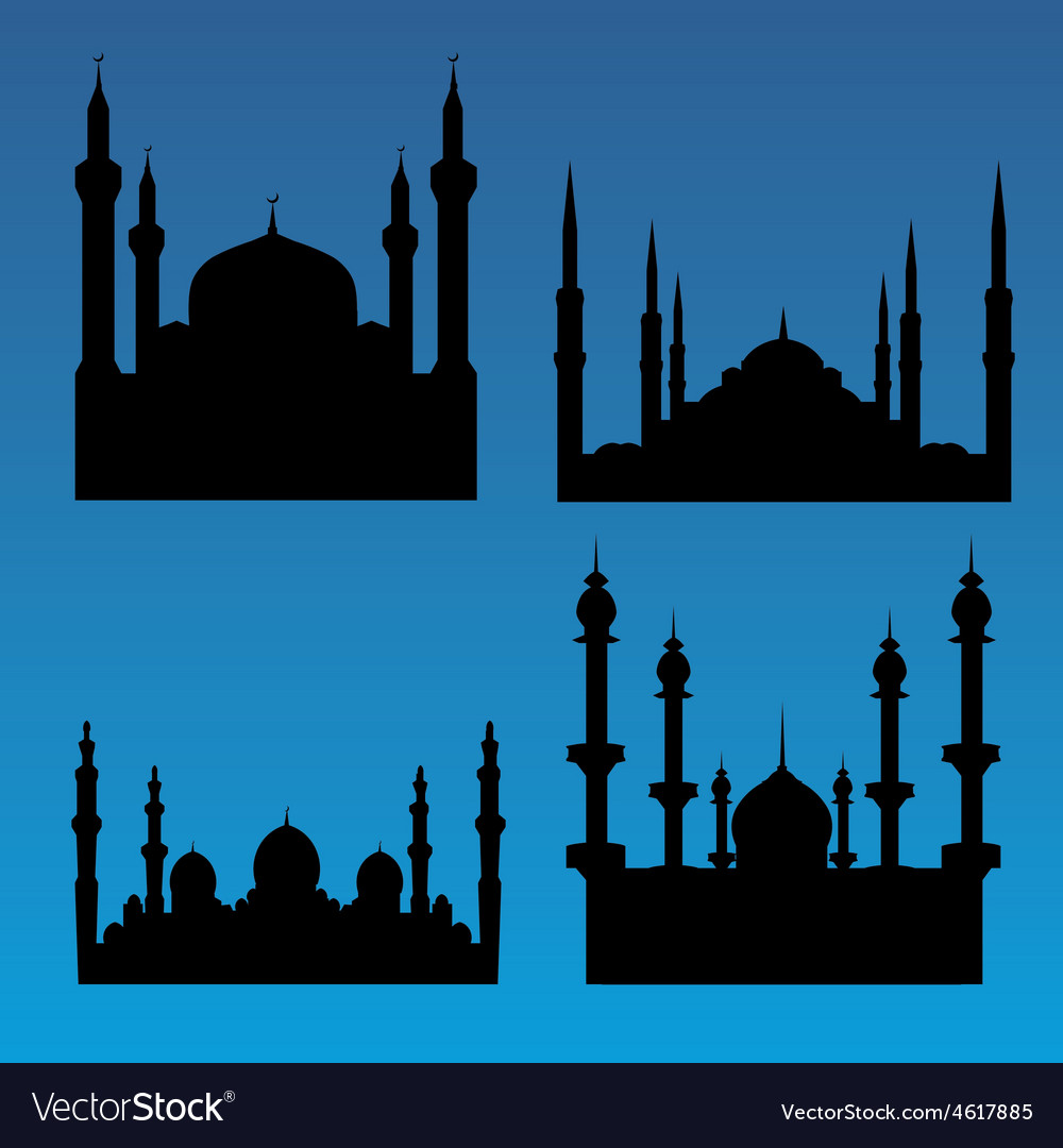 Mosque silhouettes vector | Price: 1 Credit (USD $1)