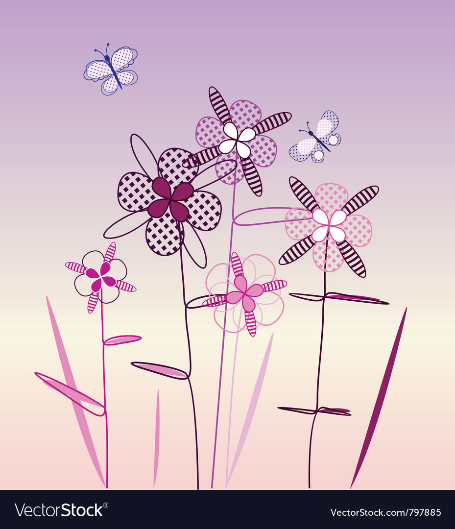 Postcard with with spring flowers and butterflies vector | Price: 1 Credit (USD $1)