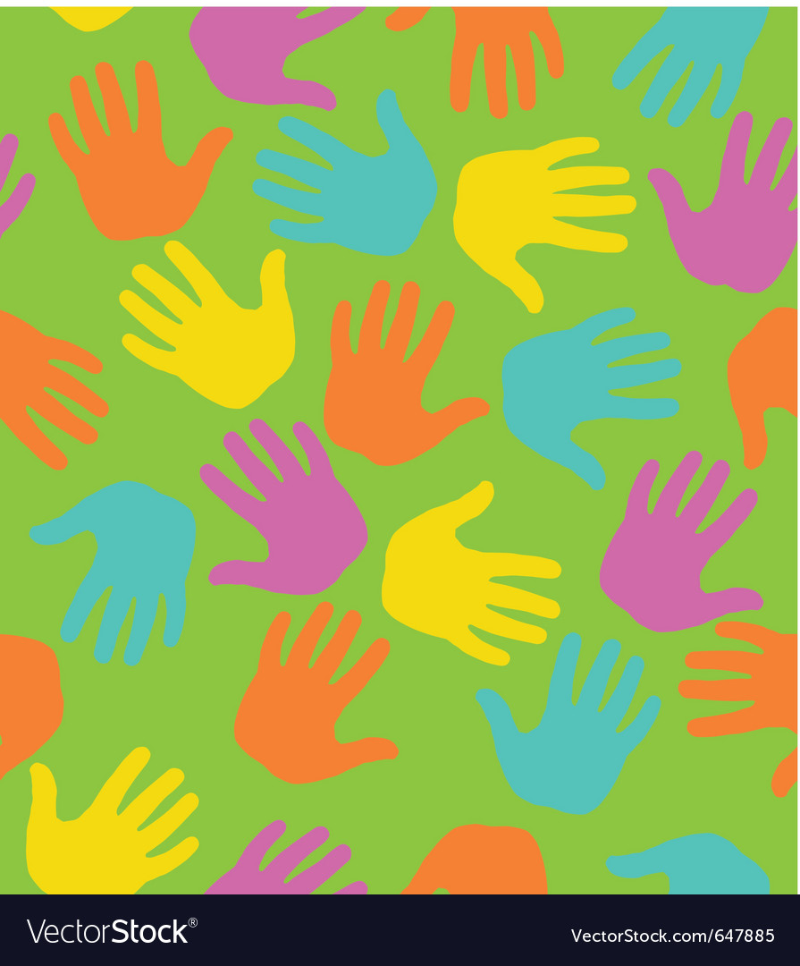 Seamless pattern with colored hand prints vector | Price: 1 Credit (USD $1)