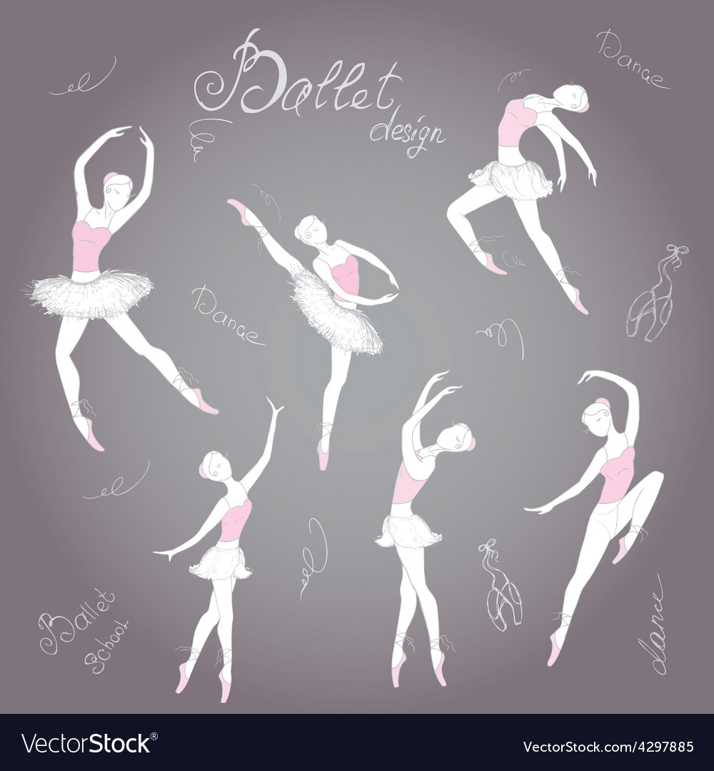 Set ballet dancers hand drawn background vector | Price: 1 Credit (USD $1)