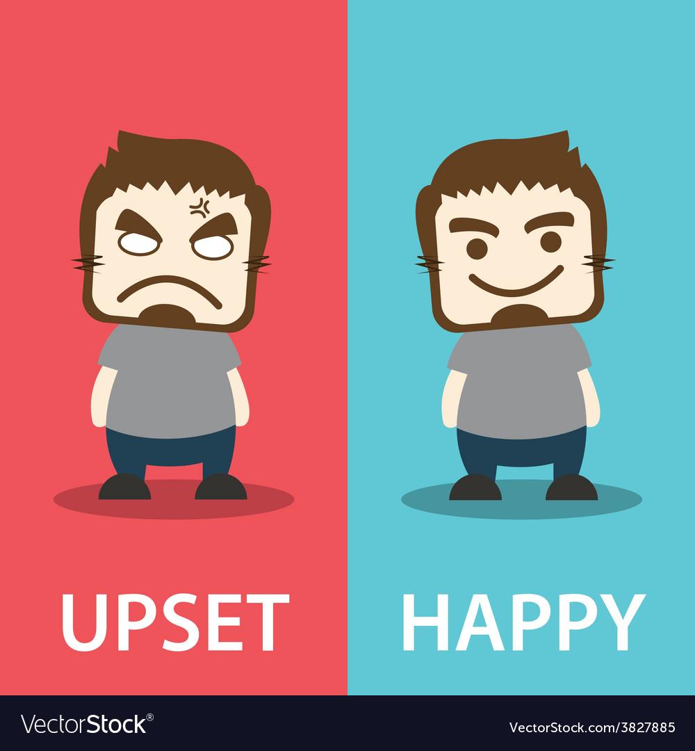 Upset and happy vector   Price: 1 Credit (USD $1)