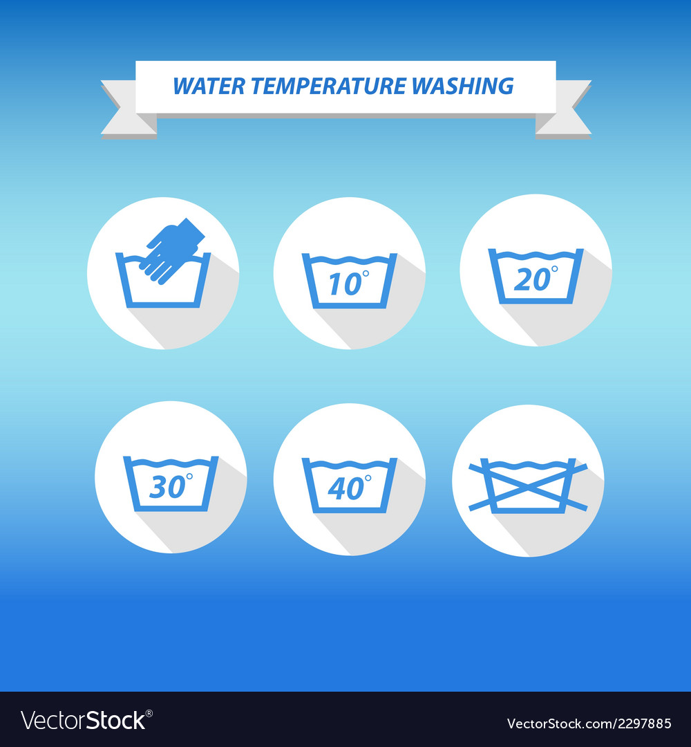 Water temperature washing by machine or hands vector | Price: 1 Credit (USD $1)